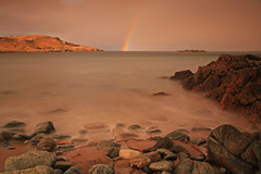Clashnessie Bay Rocks and a Rainbow. (Gordie Broon.) Tags: ocean winter sea seascape nature geotagged photography scotland rainbow scenery rocks alba scenic escocia explore schottland ecosse lochinver stoer scozia assynt culkein drumbeg sutherlandshire theminch clashnessie canoneos7d clashnessiebay bestcapturesaoi gordiebroon scottishwesternhighlands