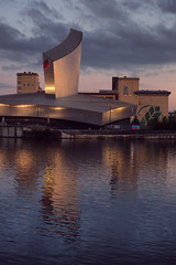 Imperial War Museum North, Salford Quays (Ian_Boys) Tags: uk reflection building architecture 35mm manchester evening fuji north fujifilm salford quays imperialwarmuseum iwm xpro1 stalybridgephotographicclub