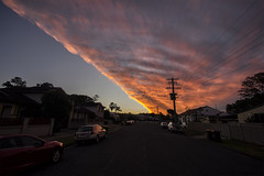 Sunset at the Edge of the Clouds (Leighton Wallis) Tags: sony alpha a7r mirrorless ilce7r 1635mm f40 emount newlambton newcastle nsw newsouthwales australia sunset dusk orange pink red blue clouds front