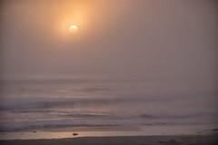 Peeking thru the Marine Layer (morrobayrich) Tags: ocean sunset beach fog waves calming marinelayer