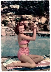Little Darling (Truus, Bob & Jan too!) Tags: pinup bikini girl woman sweet sexy beachwear swimwear bathingsuit maillot vintage postcard carte postale cartolina postkarte tarjet postal postkaart briefkarte briefkaart ansichtkarte ansichtkaart swimming summer swimsuit beach surf 1950s dog pet animals cap lumicap
