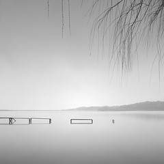 Whispers (Rohan Reilly Photography) Tags: tottori lake togo japan mist rain square long exposure minimal