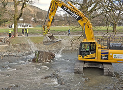 "373. ""Whoopsie"" (J.C. Carter) Tags: cumbria lakeland lakedistrict keswick rivergreta bridge damage wreckage destruction excavator splash stormdesmond flood workinprogress fitzpark knightsbridge"