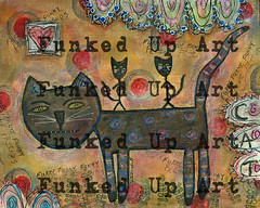 (artfunkedup) Tags: mixed media cat cats whimsical art artist canvas painting painted childlike heart hearts