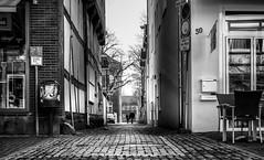 Walk this way please. (Mister G.C.) Tags: blackandwhite bw image streetshot streetphotography candid people unposed monochrome urban town city lowpov lowpointofview alley alleyway sidestreet sonyalpha6000 sony a6000 mirrorless 1650mm kitlens mistergc schwarzweiss strassenfotografie niedersachsen lowersaxony germany deutschland
