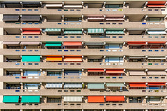 """""""Living in a matrix, behind colorful sunshades..."""" (Dirk van der Veen) Tags: matrix appartment sunshades blinds colorful"""