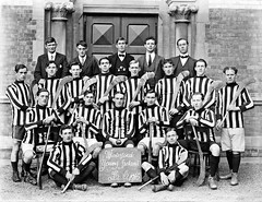 The Waterford Cats? (National Library of Ireland on The Commons) Tags: ahpoole arthurhenripoole poolecollection glassnegative nationallibraryofireland hurlingteam waterford jerseys kilkenny rivals allirelandchampionships localheroes sliotar hurling stripes youngirelands ferrybank hurleys groundhurling countyfinal 1916 ears