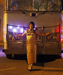 Cheongsam (justplainrachel) Tags: justplainrachel cheongsam chinese ethnic dress crossdresser tgirl transvestite tv cd gold dragon bus priscilla brokenheel brokenhill nsw portrait