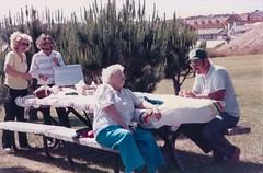 Nana Chatting with Uncle Bob - c1985 (kimstrezz) Tags: 1985 triptolanternbayparkc1985 nana unclebob auntcarol