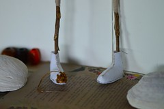 boots (Danny W. Mansmith) Tags: workinprogress commission figure embroidery threads interfacing handmade improvised feet legs treebranches dannymansmith art burienwashington