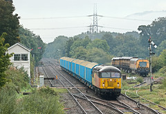 56105 6Z37 0815 Cardiff Canton Sidings - Carlisle Yard Colas Rail with a rail grinder behind in the sidings at Abergavenny 23.09.2016 (2) (The Cwmbran Creature.) Tags: british rail class railway train trains 56 colas grid marches