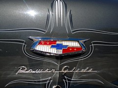Power Stripe (misterbigidea) Tags: auto art chevrolet car silver emblem logo landscape pin power painted letters stripe bowtie crest sparkle chevy chrome badge trunk hotrod gleam shield custom stockton glide