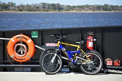 I TAKE MY BIKE FOR A 10 MILE RIDE EVERY DAY. . . (NC Cigany) Tags: orange ferry nc bikes southport lifepreserver fortfisher ferryboat
