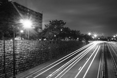 (Photofidelity) Tags: city longexposure nightphotography blackandwhite cars traffic olympus lighttrails buffalony starbursts meghanherald olympusomdem5