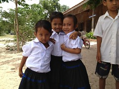 Cambodian kids in new school uniforms