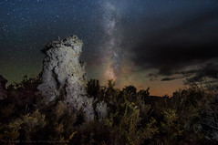 The Milky Way and Meteorites Over the Tufa Tower (Matt Granz Photography) Tags: lightpainting green nature night clouds stars landscape sage monolake milkyway tufatowers airglow
