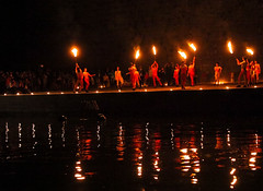 Dancers perform on the banks of the Tiber.