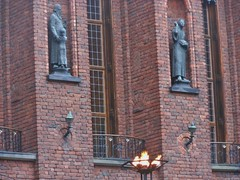 The Past Looks Down (mikecogh) Tags: brick statues special flame townhall past stockolm recesses
