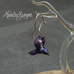 Purple Bird Earrings (madelinebunyan) Tags: bird glass birdie silver flying beads wings handmade flight earring sterling earrings lampwork birdies birdy sterlingsilver lampworked