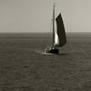 sail (beta karel) Tags: sea blackandwhite bw dutch fog terschelling square boat horizon squareformat sail 2012 canoneos40d ©betakarel