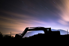 Night Shift (Seitrams) Tags: longexposure night clouds cat dark stars star spain nightshot trails catalonia trail catalua digger startrails cadaqus startrail