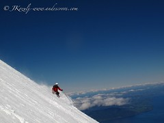 Skiing down from Volcan Llaima