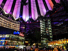 Sony Center (duqueros) Tags: city roof berlin architecture night germany deutschland lights design colours nacht centre decke stadt potsdamerplatz sonycenter architektur lightning glas beleuchtung lichter duqueiros
