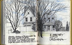 Drawing under the trees (skyeshell) Tags: houses usa drawing journal january maryland sketchbook urbana wintertrees urbansketches sketchbookjournal urbansketchers pleinairsketching urbanamd drawingfromdirectobservation doublepagesketch finepenandcolouredpencil