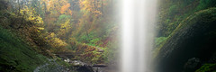 Backstage passes (Zeb Andrews) Tags: autumn fall 120 film nature water oregon analog mediumformat landscape outdoors seasons fallcolors pano panoramic waterfalls pacificnorthwest columbiarivergorge latourellfalls bluemooncamera fujig617