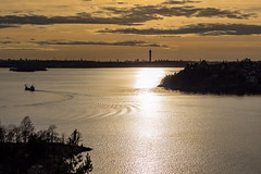Taking a turn (Jens Haggren) Tags: olympus em1 sky clouds sun light water sea seascape ship reflections landscape view stockholm sweden