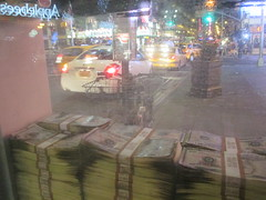Narcos Bus Shelter Pile O Money AD 5225 (Brechtbug) Tags: narcos tv show bus stop shelter ad with piles slightly singed real fake money or is it 2016 nyc 09102016 midtown manhattan new york city 49th street 7th ave st avenue moola bogus