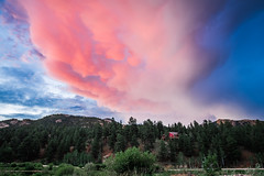 love in the clouds (almostsummersky) Tags: mammatuscloud peaks pine cloudy mountains pines mammatus clouds rockymountains landscape summer storm lowerlakeranch blue red forest house colorado sky green ranch sunset road pink unitedstates us