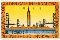 Golden Gate International Exposition Ticket, San Francisco, 1939 (Alan Mays) Tags: ephemera tickets admissiontickets admissions paper printed ggie goldengateinternationalexposition goldengate worldsfairs fairs international expositions pageantofthepacific pageants pacific pacificocean oceans cutler lelandwcutler presidents hcbottorff executivesecretaries secretaries bridges sanfranciscooaklandbaybridge goldengatebridge treasureisland islands towerofthesun towers buildings structures souvenirs artdeco illustrations borders yellow blue orange green sanfrancisco ca calif california 1939 1930s antique old vintage typefaces type typography fonts