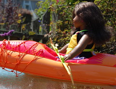 Yellow Kayak (Emily1957) Tags: sonali americangirl blackdoll kayak kayaking dolls doll toys toy light naturallight nikond40 nikon kitlens