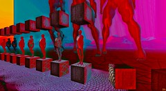 in a row / Artist : Bufje (Bamboo Barnes - Artist.Com) Tags: secondlife digitalart virtualart vivid yellow red lea light shadow photo painting bamboobarnes surreal purple pink bufje installation art cube figure