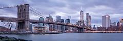 Dowtown Manhattan and Brooklyn Bridge Blue Hour (Malick) Tags: 1020mm america angle bridge brooklyn city d5200 dslr downtown lens longexposure manhattan newyork nikon photography sigma skyline skyscraper travel usa uwa unitedstates wide winter worldtradecenter newyorkcity