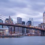 Dowtown Manhattan and Brooklyn Bridge Blue Hour thumbnail