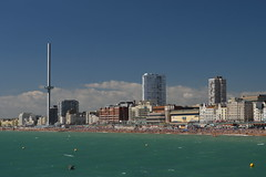 Brighton's Seafront from the Pier (CoasterMadMatt) Tags: brighton2016 brighton seasidetowns seaside town towns britishairwaysi3602016 britishairwaysi360 british airways i360 brightontower tower towers observationtower newfor2016 new brightonpier2016 brightonpier pier piers beach sea englishbeaches ocean seafront britishseaside southeastengland england britain greatbritain gb unitedkingdom uk august2016 summer2016 august summer 2016 coastermadmattphotography coastermadmatt photos photography photographs nikond3200 sussex englandssouthcoast