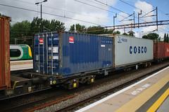 92620 Northampton 040816 (Dan86401) Tags: 92620 rls92620 92 kfa freightliner fl intermodal modal container flat wagon freight rls standardwagon touax northampton wcml 4l97 tal cosco