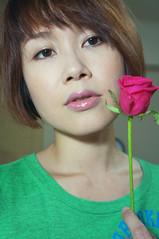 Self Portrait (Pumpkin Chief) Tags: life people woman selfportrait flower rose female self fun kate sp sonynexf3 nexf3 nexf3