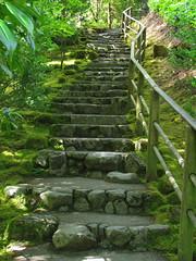 Stairway (Cashcat1) Tags: japanesegarden moss rocks steps stairway staircase railing portlandjapanesegarden escaleras