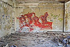Graffiti on strong nerves (Eleanna Kounoupa (Melissa)) Tags: abandoned graffiti hotel xenia parnes       greece