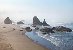 Oregon Coast (gordeau) Tags: ocean people mist seascape beach fog oregon rocks gordon ashby flickrchallengegroup flickrchallengewinner thechallengefactory thepinnaclehof gordeau tphofweek176