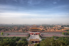 Forbidden Cityscape (TheFella) Tags: china city travel trees sky slr tower wall skyline architecture clouds digital photoshop sunrise canon buildings eos photo asia day cityscape rooftops cloudy fineart capital egg towers chinese beijing unesco worldheritagesite roofs photograph processing 5d daytime   dslr jingshanpark fareast hdr highdynamicrange peking theegg walled mkii  markii walledcity jingshan eastasia  postprocessing theforbiddencity travelphotography photomatix jingshanhill nationalcentrefortheperformingarts thefella 5dmarkii ggng conormacneill thefellaphotography