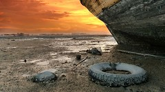 Remnants of wreckage! - Ushairij (khalid almasoud) Tags: leica light sunset beach clouds wooden october all ship photographer view mud 5  tires part clay rights kuwait khalid wreckage reserved remnants dlux  icapture    almasoud  flickraward    thebestofday gnneniyisi ushairij