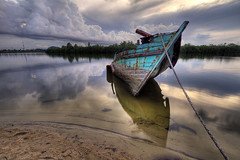 Nearly there (Azer Naudzer a.k.a PokYa) Tags: reflection clouds boat colours riverbank hdr kelantan tokbali canon7d