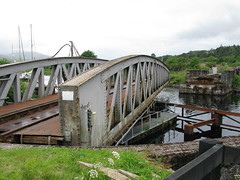 rail bridge opening to let boats in and out of the Caledonian Canal (Francis Mansell) Tags: scotland canal highlands swingbridge scottishhighlands caledoniancanal