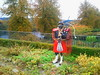 Photo of Scottish piper sculpture in Dunkeld