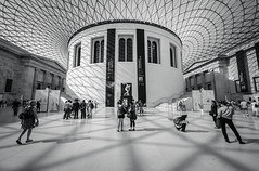 Great Hall (vulture labs) Tags: light people blackandwhite bw white black building london nikon shadows interior britishmuseum greathall d700 1424mm