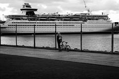 B&W (littlenoemi) Tags: sea bw blancoynegro walking muelle mar barco ship bicicleta canarias andando